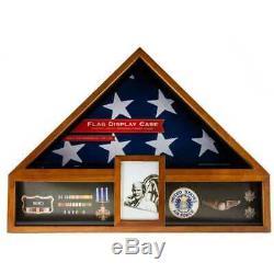 Oak American Flag Display Box Case Military Veteran Shadow Box Funeral Burial