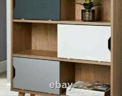 Oak Floyen Cube Sliding Wooden Bookcase Shelving Display Storage Shelf Unit Wood