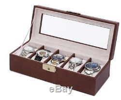 Orbita Roma 5 Watch Case Glass Top Display Storage Box Brown Leather W93012