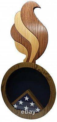 Ordinance Flames 2 Tone Military Award Wood Shadow Box Medal Display Case