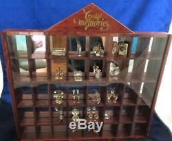Orginal Swarovski Memories Wood Display Case with 21 Crystal Figurines