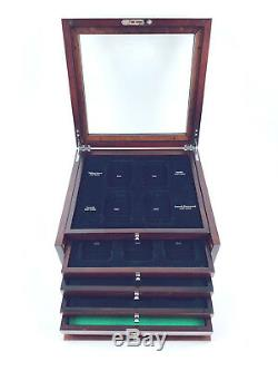PCS Stamps & Coins Dated Coin Holder Locking Wood Display Case Box No Key