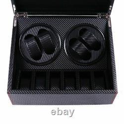 PU Leather Wood Storage Case Display Box 4+6 Automatic Rotation Watch Winder