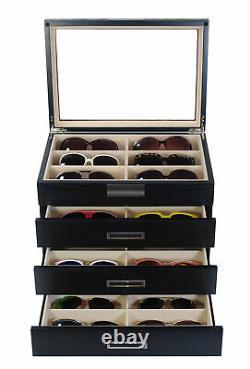 Personalized 24 Black Wood Eyeglass Display Case Drawer Storage Sunglass Box