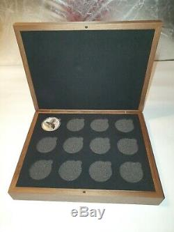 Perth Mint Lunar Series 3 bespoke Solid walnut display case 1oz silver 9999