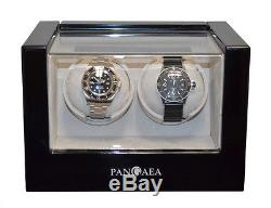 Piano Black Dual Double 2 Watch Winder Storage Wood Display Case by Pangaea D280