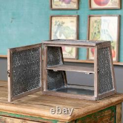 Punched Tin Wood Display Case Shelf Tabletop
