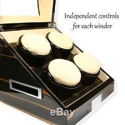 Quad 4 Automatic Watch Winder Wood Box Display Case High Gloss Ebony