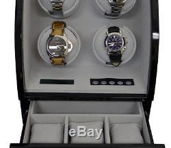 Quad 4 Automatic Watch Winder Wood Box Display Case Piano Black by PANGAEA
