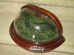 RARE! Antique 1890's Victorian Era Small Wood Display Case withSWIVEL GLASS DOME