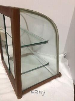 RARE Art Deco Age Modernist Wood & Glass Counter Top Display Case
