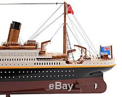 RMS Titanic Ocean Liner Wood Model 40 White Star Line with Table Top Display Case