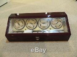 Red Wood Dual Double Quad 8 + 10 Automatic Watch Winder Storage Display Case Box