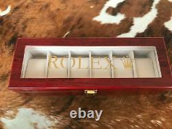 Rolex Luxury Wooden Watch Display Box / Case (Ltd Edition.) Holds 6 watches