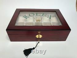 Rolex Satin Cherrywood Watch Display Box / Case Holds 10 watches