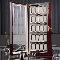 Rosewood 20 Mens Watch Display Stand Show Case Acrylic Top Wood Storage Box Gift