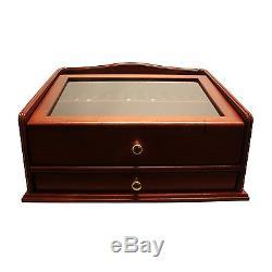 Rosewood Luxury Wood Pen Display Case, 36 Pen Capacity