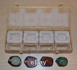 Set Of 4 Chinese Hand Carved Gem Stone Turtles With Wood Display Stand And Case