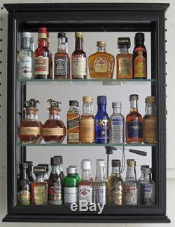 SOLID WOOD, Mini Liquor Bottle Display Case Cabinet Shadow Box, CD06B