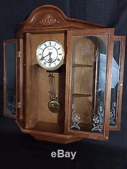 Seiko Curio Display Oak Cabinet Wall Clock Case Glass