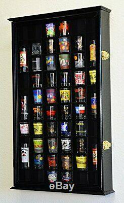 Shot Glass Holder Wood Wall Display Case Cabinet Curio Shelf For Collectibles