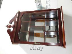 Solid Cherry Wood Mirror Glass Curio Cabinet Wall Mount Hanging Display Case Vtg