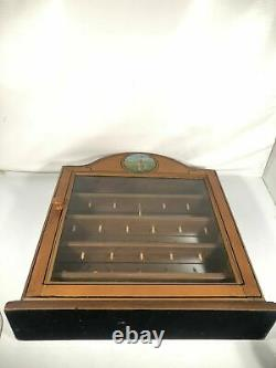 Solid Wood Golf Ball Hanging Mirrored Display Case Cabinet w Tees Holds 22 Balls