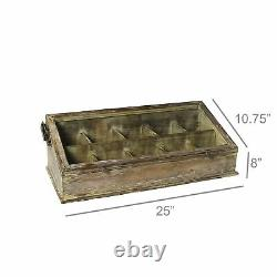 Tabletop Display Case Cubby Divided Rustic Wood Glass