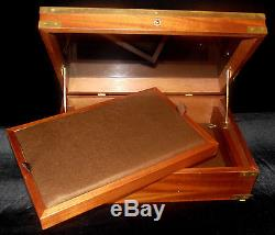 Vintage Solid Teak Wood & Brass Glazed Glass Table Top Collection Display Case