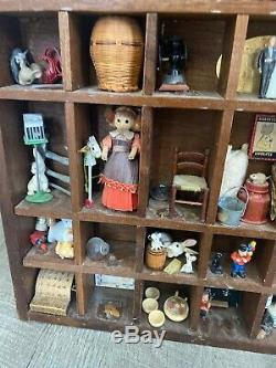VINTAGE WOOD SHADOW BOX HANGING CURIO DISPLAY With Miniature Collection