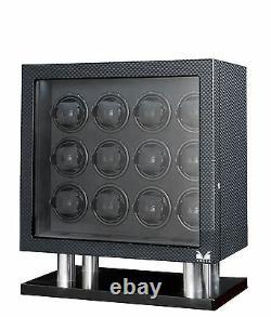 VOLTA Automatic 12 Watch Winder Carbon Fiber Signature Series Box Display Case