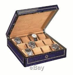 Venlo Twelve 12 Watch Case Holder Blue Wood Display New wc-12-bl