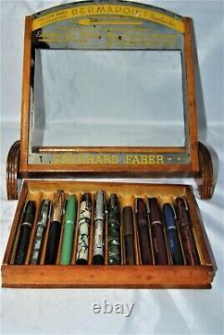 Vintage 12 pen Eberhard Faber ink pen display case -Selling the CASE ONLY