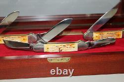 Vintage 1985 Case XX Gun Boat 3 Knife Set in Wood Display 6194 6294 6394