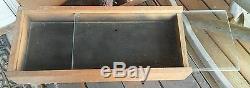 Vintage 23.5 WOODEN TABLE DISPLAY CASE CABINET Wood Glass Slide Window