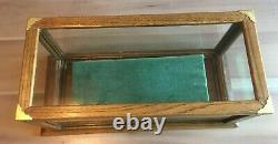 Vintage / Antique Oak Wood Glass Top Counter Table Display Case