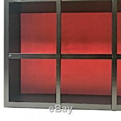 Vintage Black and Red Gothic Display Wood Wall Shelf Case Shadow Box 26x24x5.5
