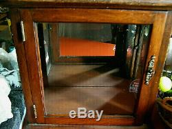 Vintage Cherry Wood & Glass Counter Curio Display Case Cabinet, Curios, Dolls