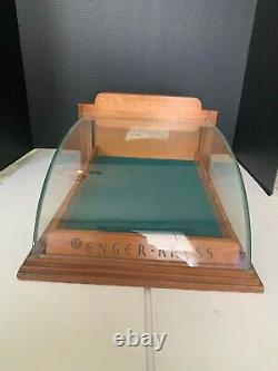 Vintage Enger Kress Wallet Store Counter Display Case Wood with Domed Glass