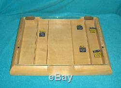 Vintage Gillette Razor Blade Wood & Glass Counter Top Display Case Rexall