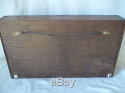 Vintage Hanging Table Top Wood & Glass Display Cabinet Case 2 Shelves 23 x 13