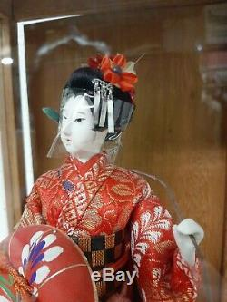 Vintage Japanese Geisha Doll Spinning Music Box With Wood & Glass Display Case 20
