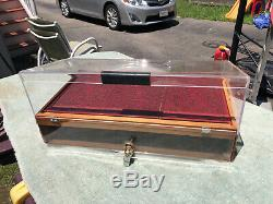 Vintage Jostens College Ring Jewelry Counter Display Case Lucite & Wood