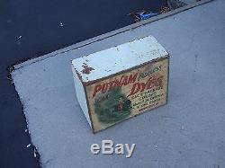 Vintage Putnam Dyes Tin & Wood Cabinet Store Display Case, MONROE DRUG CO