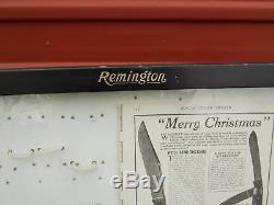 Vintage Remington Bullet Pocket Knife Glass Store Display Case Wood Cabinet