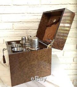 Vintage SIR RONDO Italian Wood Suede Mini Bar Case Barware Box Liquor Display