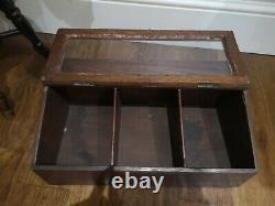 Vintage Table Top Display Storage Case Keepsake Shop Display Glazed Hinged Box