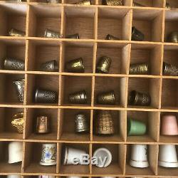 Vintage Thimble Lot Of 99 Display Case Silver Bone China Pewter Wood Collection