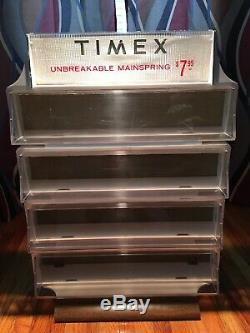 Vintage Timex Watch Display Case Faux Wood Grain Design