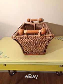 Vintage Wicker & Wood Basket Unique Hawaii Pineapple Stand Display